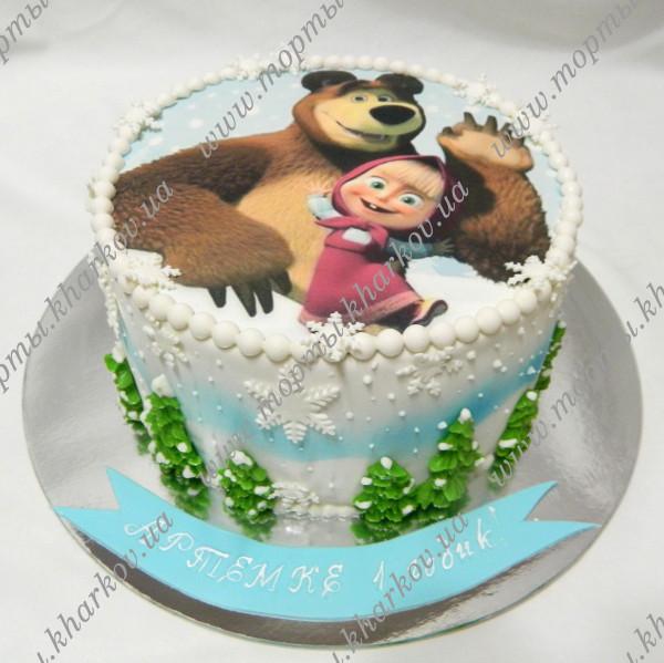Детский фототорт маша и медведь