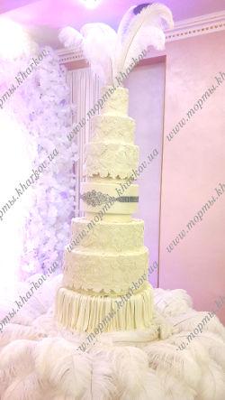 Свадебный вип торт. Роскошный ажурный свадебный торт.