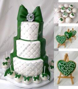 Свадебный торт в бело-зелёной цветовой гамме.