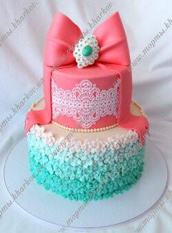 Свадебный торт в персиково - мятной цветовой гамме