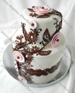 Свадебный торт на шоколадно - розовую свадьбу