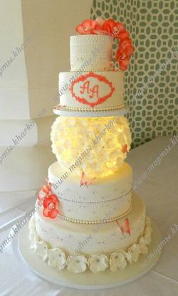 Свадебный торт со светящимся шаром с сахарными цветами