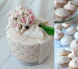Свадебный торт с букетом роз
