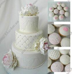 Свадебный торт с сахарными кружевами и пионами