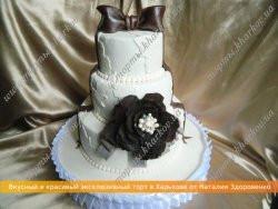 Свадебный торт «С кружевами и сахарной розой»