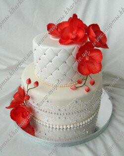 Свадебный торт с орхидеями в Харькове