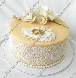 Свадебный торт с орхидеями (сахарные орхидеи)