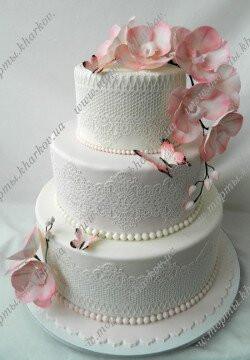 Свадебный торт с Розовыми орхидеями