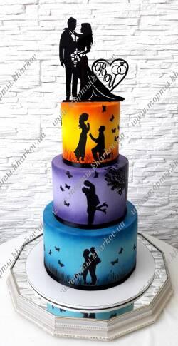 Свадебный торт с силуэтами