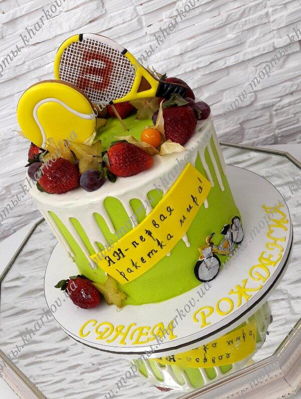 Торт с пряниками и фруктами