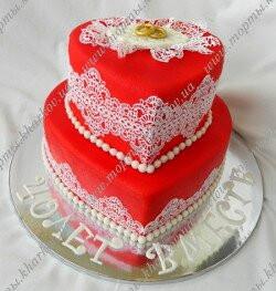 Торт -два сердца к 40 летию дня свадьбы