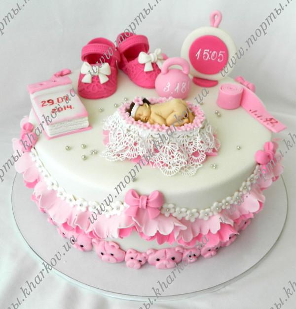 Торт с новорожденной девочкой