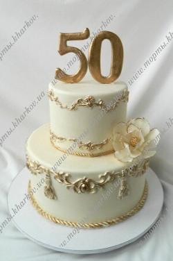 Торт для мужчины на 50 лет с сахарным цветком