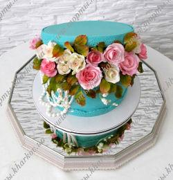 Торт коробка с цветами.