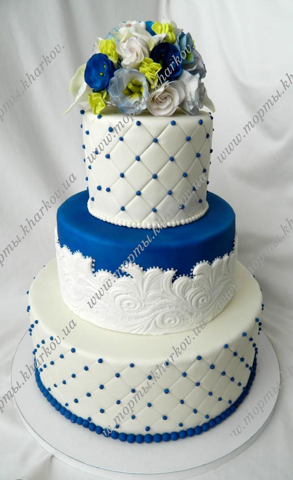 Свадебные торты из мастики в бело-синем цвете