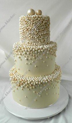 Торт свадебный с жемчугом