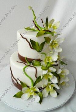 Торт свадебный с орхидеями 0