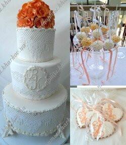 Торт свадебный с персиковыми розами и кружевами