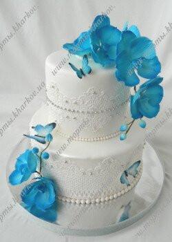 Торт свадебный с синими орхидеями в Харькове
